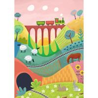 "Greetings card ""Train in the distance"" 12x17cm"