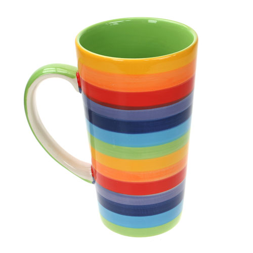 Rainbow tall mug horizontal stripes **