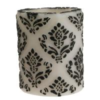 Candle pineapple damask black + white, 7.5cm recessed