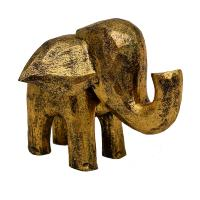 Wooden elephant gold colour, 18 x 18 x 15cm