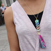 Necklace, tassels pink blue green