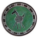 Kisii stone small bowl 10cm, zebra on green background