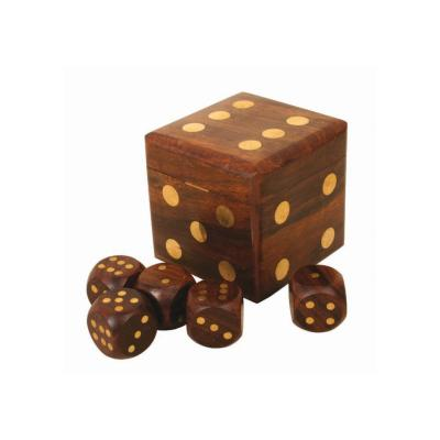Wooden dice shaped box containing 5 playing dice