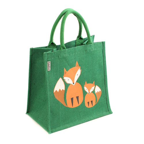 Jute shopping bag, green with foxes