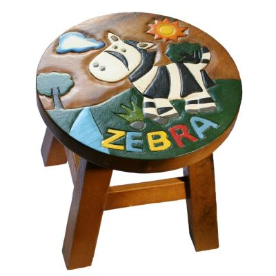 Hand carved child's stool, zebra