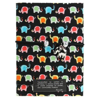 Notebook black, small elephants, 11x15cm