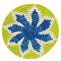 Raffia placemat, lime white blue, 30cm