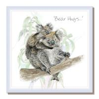 "Greetings card, ""Bear hugs"", koalas"