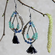 Earrings beads + tassels blues