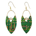 Earrings, recycled circuit board, oval drop