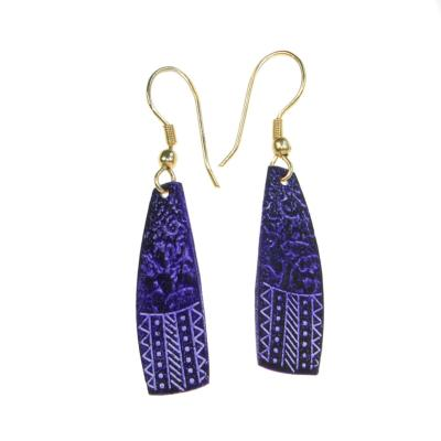 Earrings, purple shard