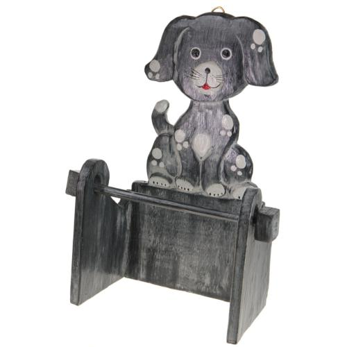 Wooden toilet roll holder, dog