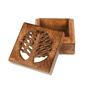 Square box mango wood tree of life