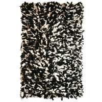 Fluffy rag rug, recycled material black & white