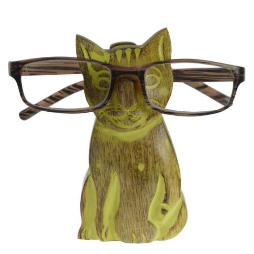 Spectacle stand, mango wood, cat green