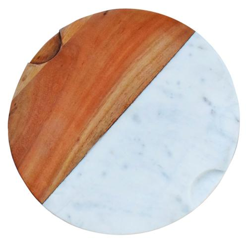Food cutting board, wood and marble, round 30cm