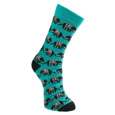 Bamboo socks, elephants turquoise, Shoe size: UK 7-11, Euro 41-47