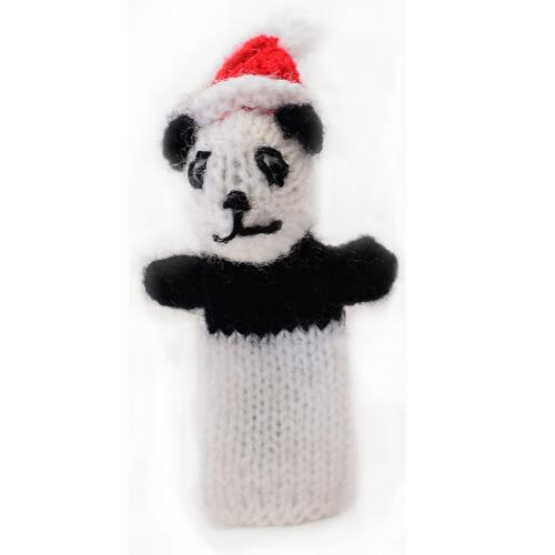 Finger puppet, panda with Christmas hat