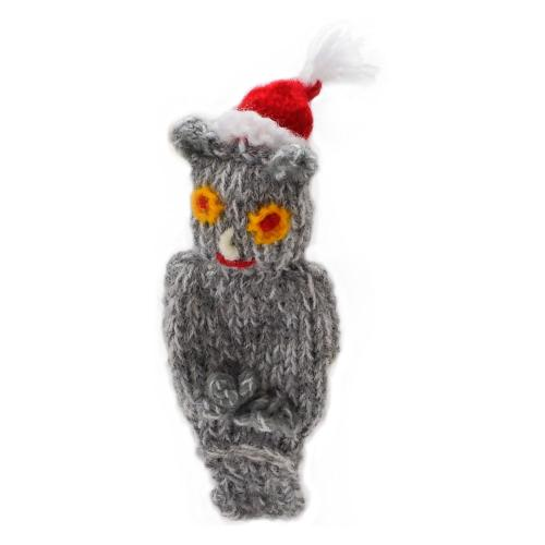 Finger puppet, owl with Christmas hat