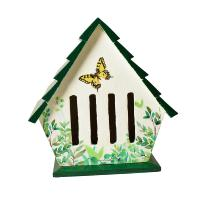 Butterfly house, white with green roof, 24x21cm