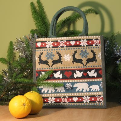 Jute shopping bag, square, Winter animals