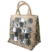 Jute shopping bag, square, sheep