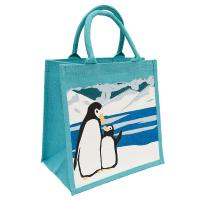 Jute shopping bag, penguin and chick