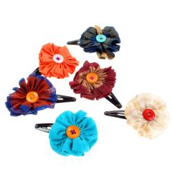 Single hairclip with flower made from recycled fabric, assorted colours