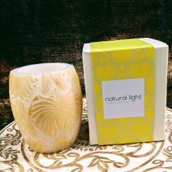 Candle lotus flower gold + white, 10cm hurricane