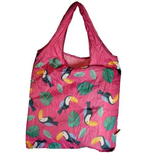 Shopping bag, recycled plastic bottles, toucan design