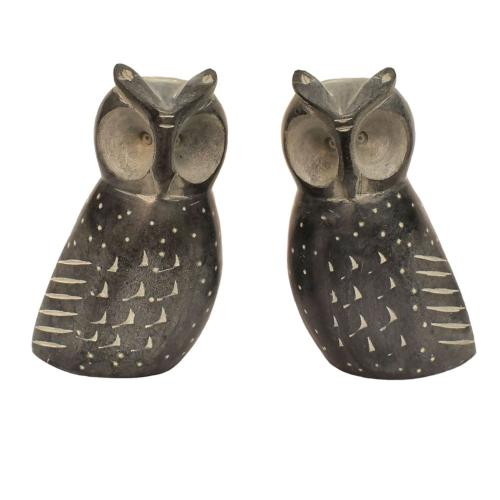 Grey stone bookends, owls