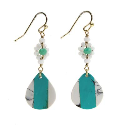 Earrings turquoise teardrop