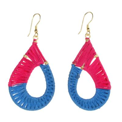 Earrings, teardrop, cerise and blue thread