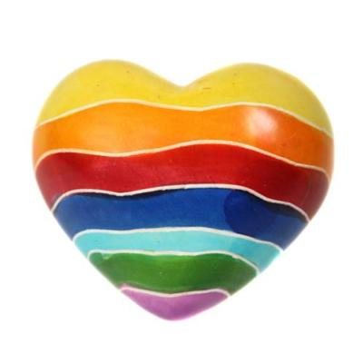 Stone heart pebble rainbow 5cm