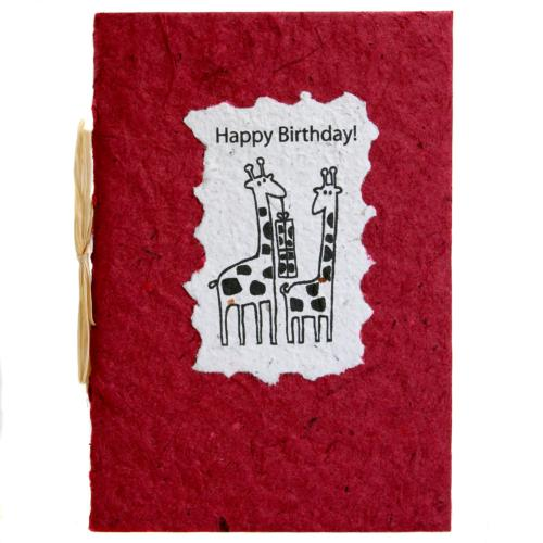 Birthday card, giraffes, red