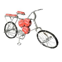 Model bike with Coca Cola bottle tops